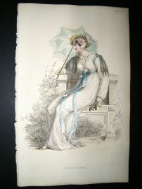 Ackermann 1812 Hand Col Regency Fashion Print. Walking Dress 8-19